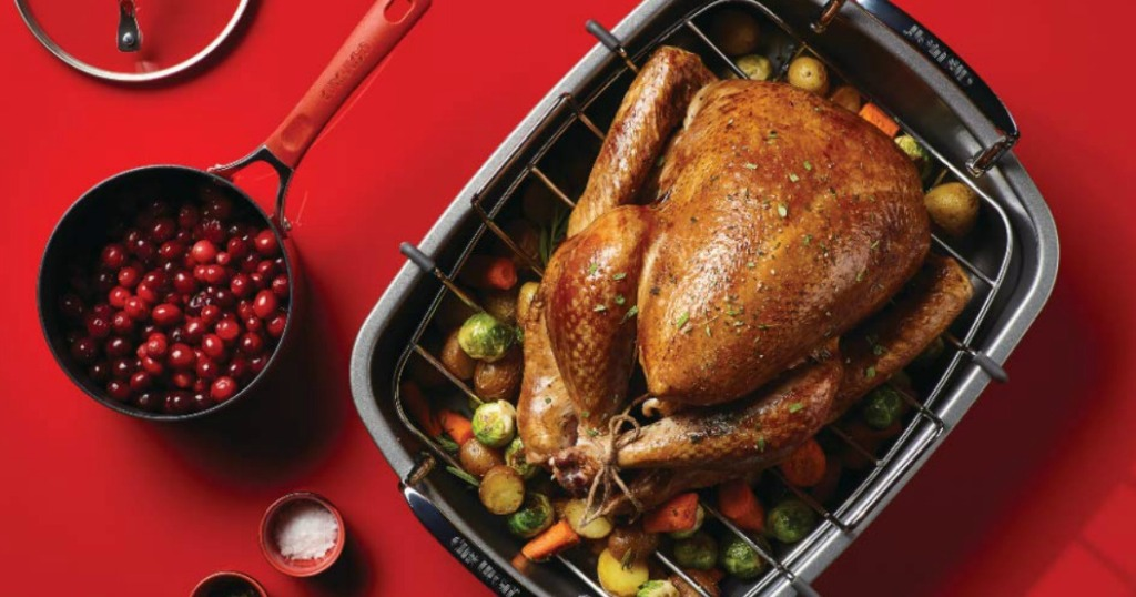 Turkey in a roasting pan near cranberries