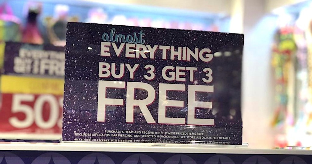 Claire's Black Friday buy 3, get 3 free sign