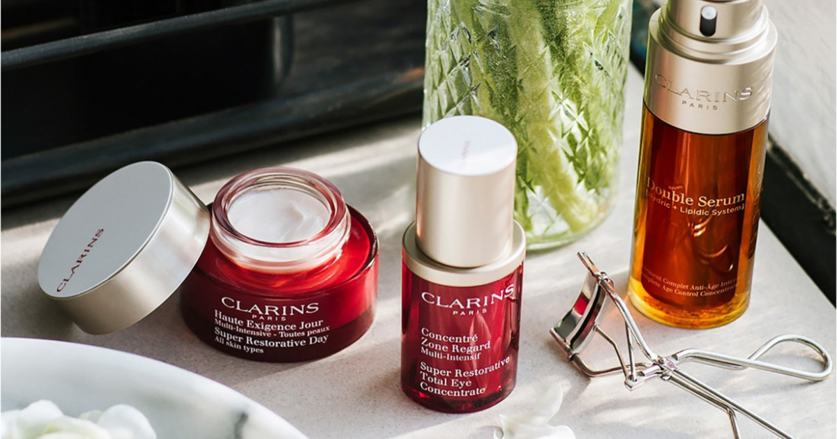 clarins products on table