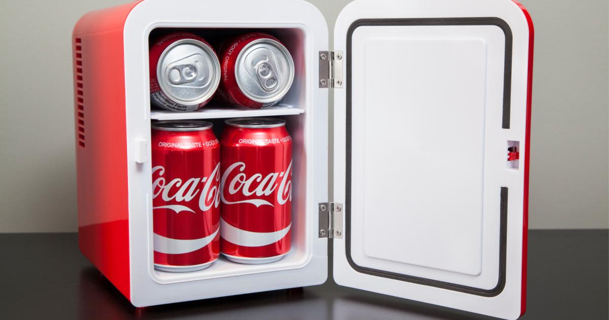 open coke mini fridge