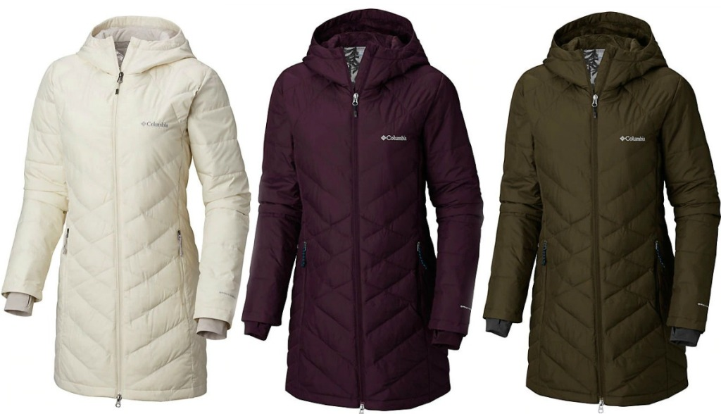 Three colors of Women's Columbia Tunic-style jacket