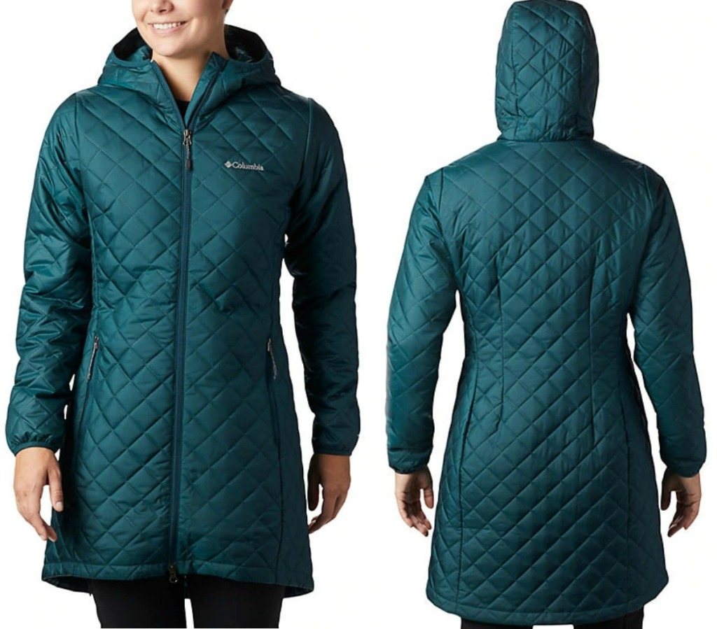 Columbia Women's Jacket in teal color - front and back view