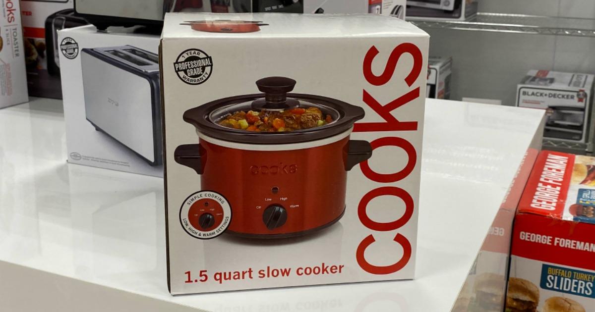 Cooks 1.5 Quart Slow Cooker box on shelf