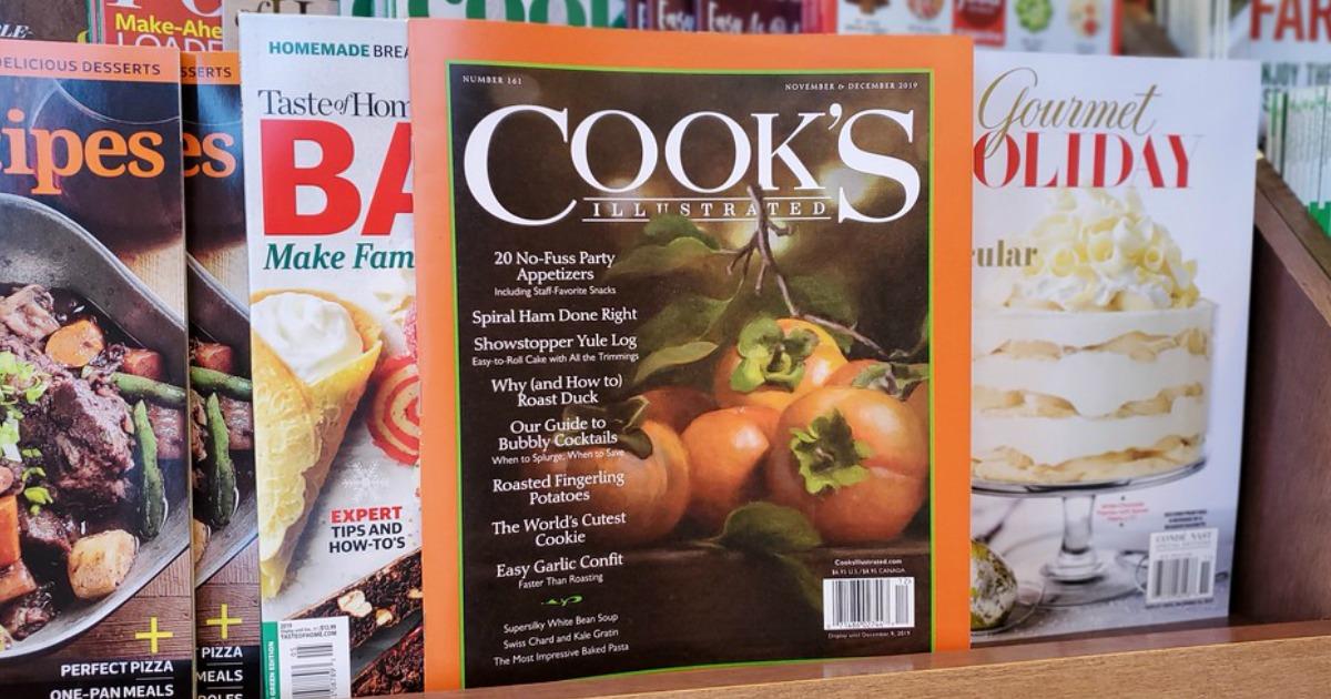 Cooks magazine on a shelf