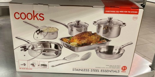 Cooks 21-Piece Stainless Steel Cookware Set Only $31.99 on JCPenney (Regularly $100)