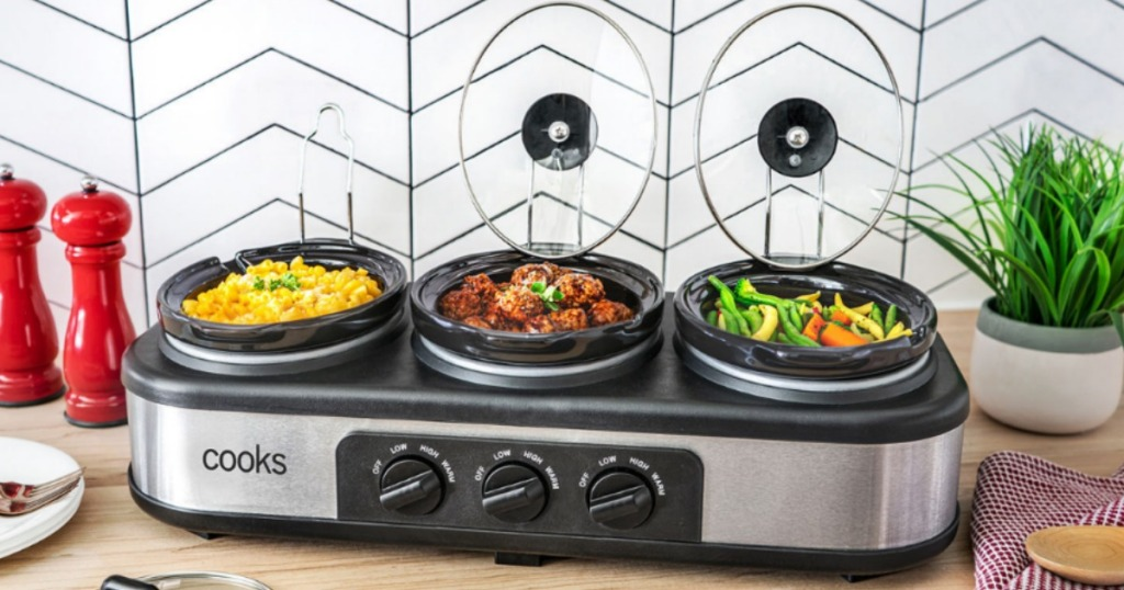 Cooks Triple Slow Cooker full of sides