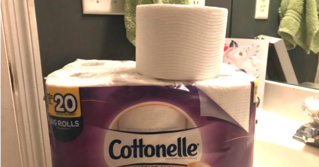 package of cottonelle toilet paper with roll on top