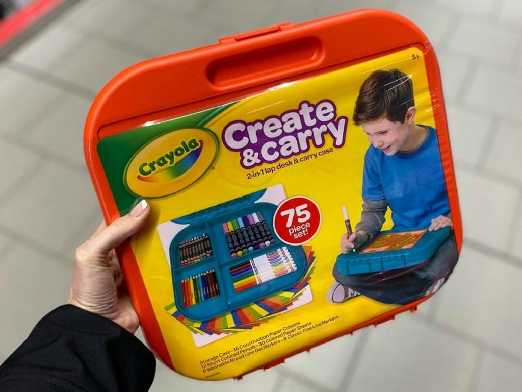 Crayola Create & Carry Art Case in hand in ALDI