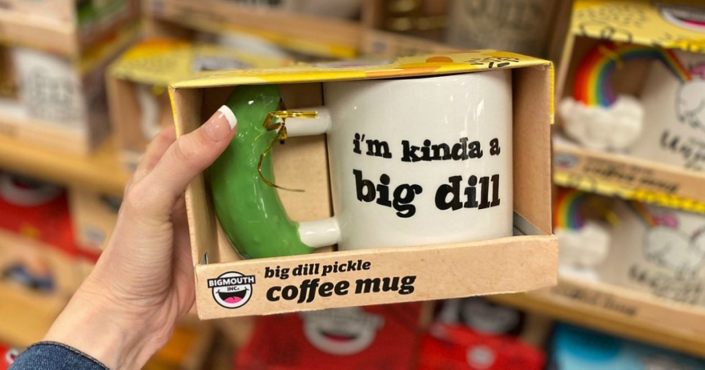 Dill Pickle themed coffee mug in package in Kohl's