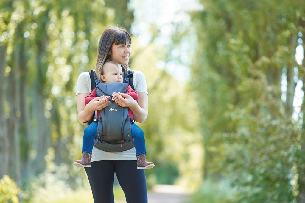 Woman wearing Diono Carus Essentials Carrier