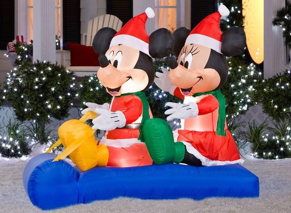 Disney 5 ft. Inflatable Mickey and Minnie's Sled Scene