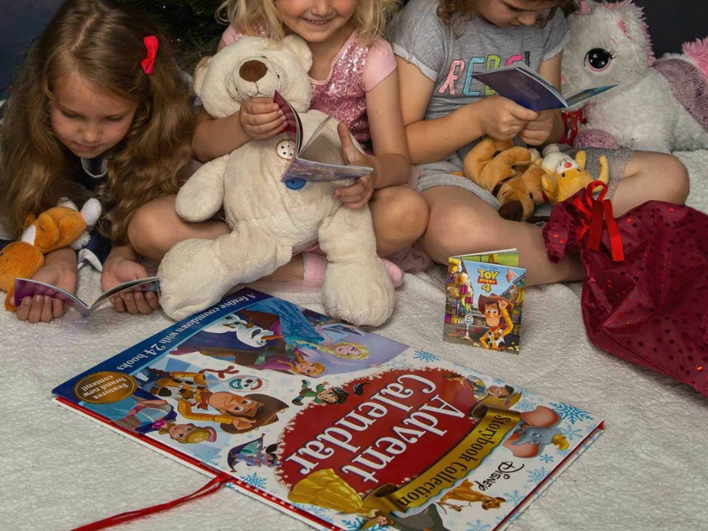 Girls reading Disney books from Disney Storybook Collection Advent Calendar