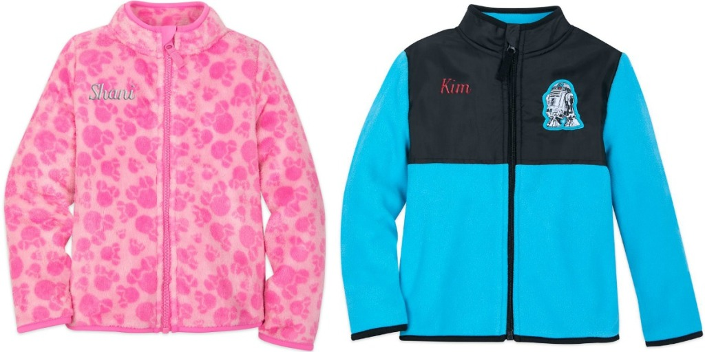 Disney character fleece jackets that are personalized with names