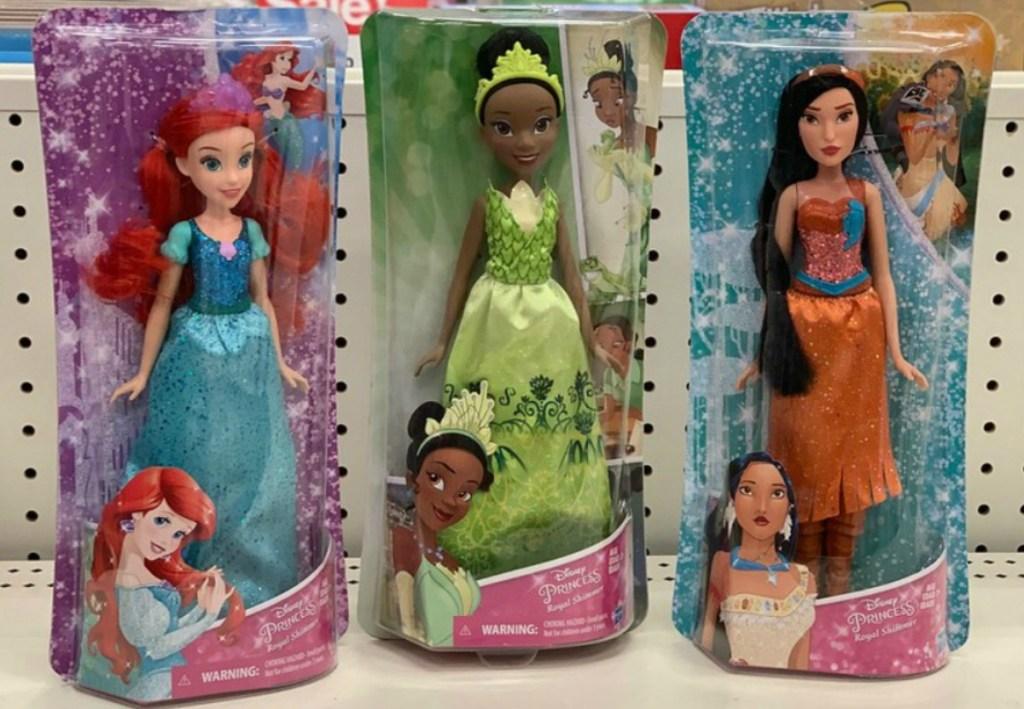 three Disney Princess dolls