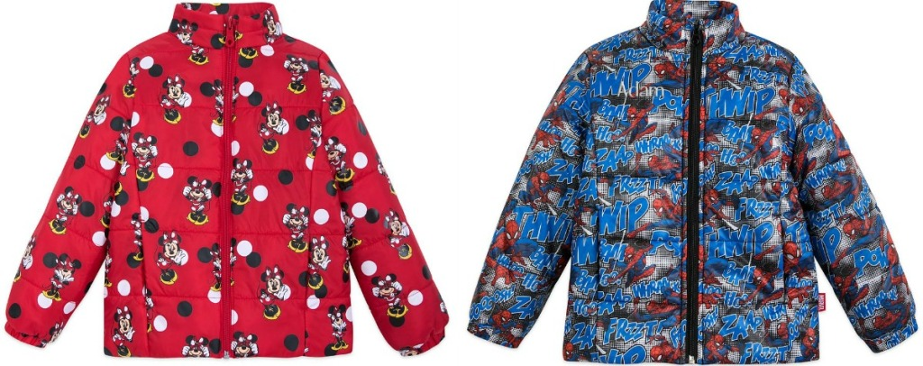 Disney Puffy Jackets in two styles - spider-man and mickey mouse