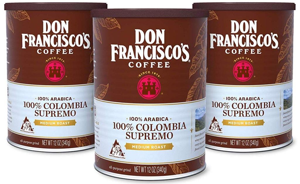 Don Francisco's 100% Colombia Supremo coffee cans