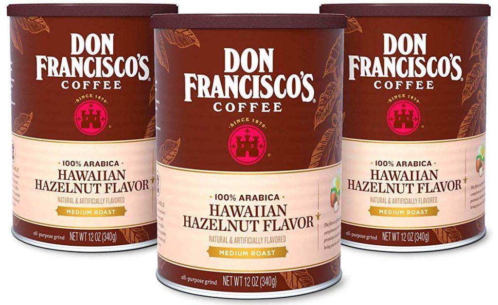 Don Francisco's Hawaiian Hazelnut coffee cans