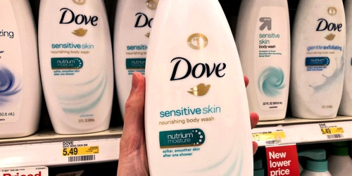 FOUR Dove Sensitive Skin Body Wash Bottles Only $13.74 Shipped at Amazon | Just $3.34 Each