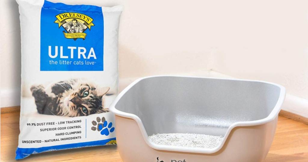 bag of Dr. Elsey's Premium Clumping Cat Litter in house with litter box