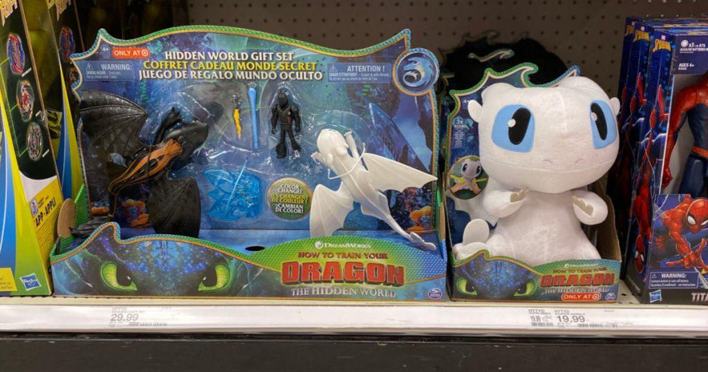 Dragons Hidden World Gift Set and LightFury Plush on shelf at target