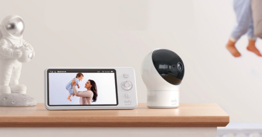 Eufy Baby Monitor on baby dresser