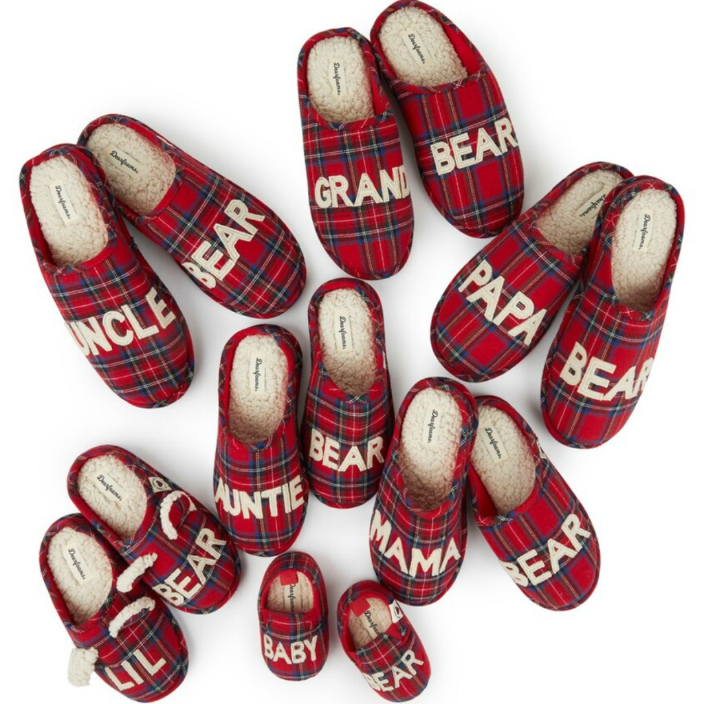 Entire collection of Dearfoams matching slippers in red plaid