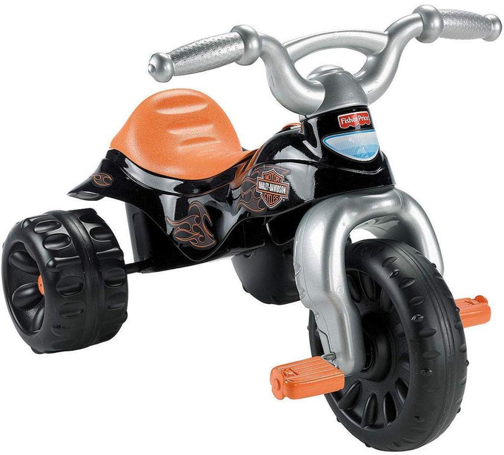 stock image of Fisher-Price Harley-Davidson Tough Trike on white background