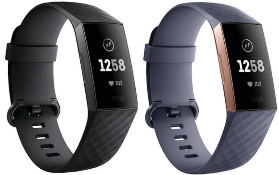 Black and gray Fitbit Charge 3 Activity Trackers
