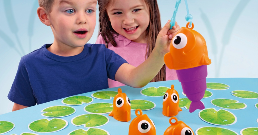 two kids playing five little fish game