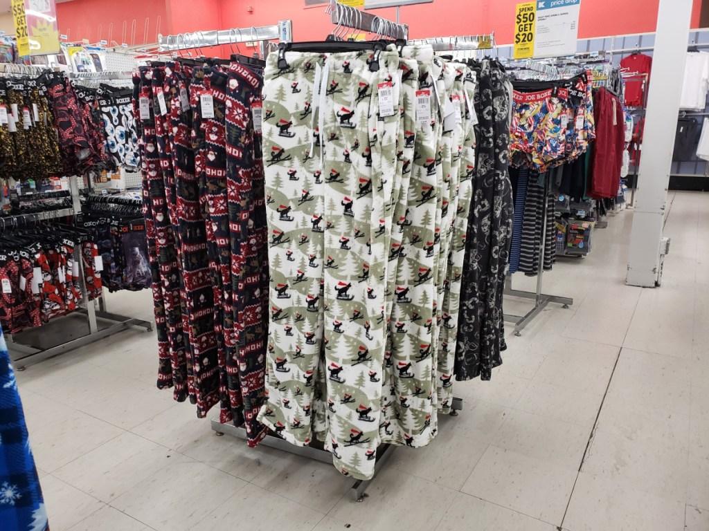 Fleece PJ Pants hanging on a rack at kmart