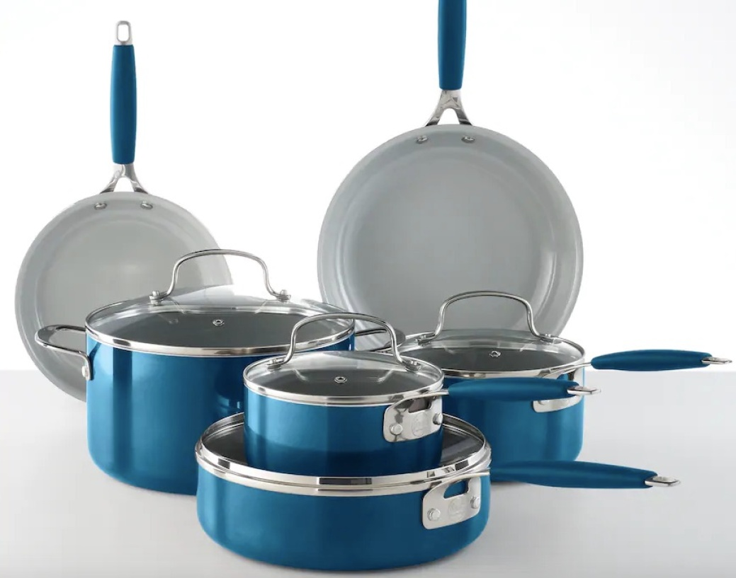 Food Network 10-Piece Ceramic Cookware Set in blue