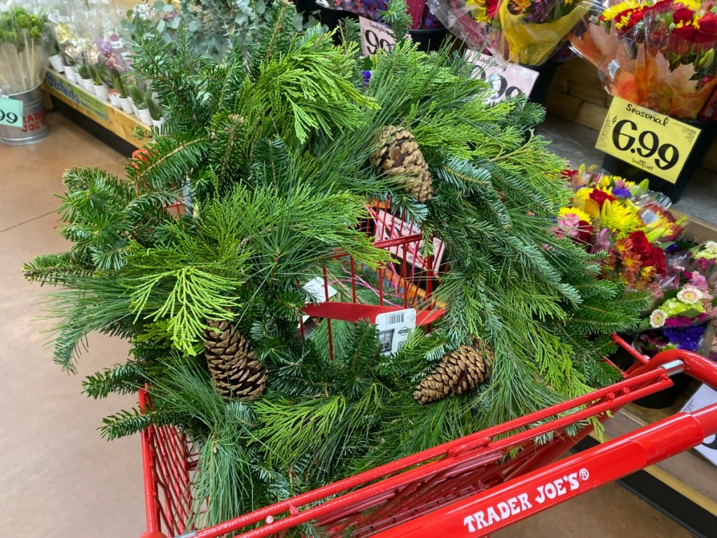 fresh wreath inside grocery cart