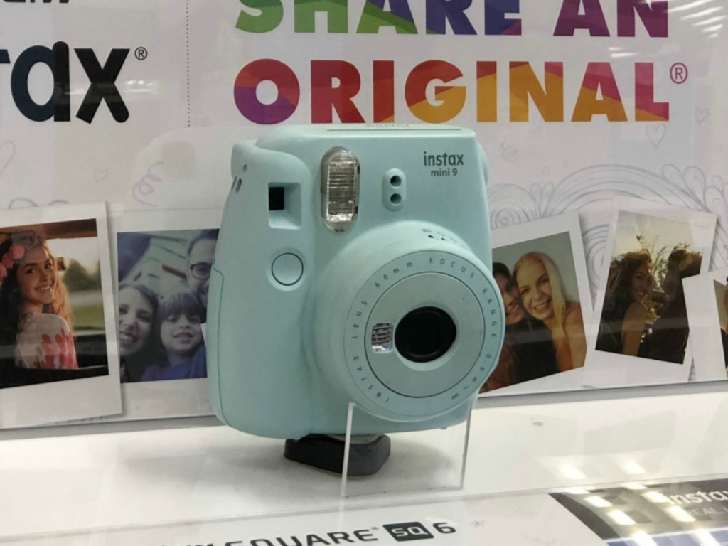 Instax Mini 9 camera on display in-store