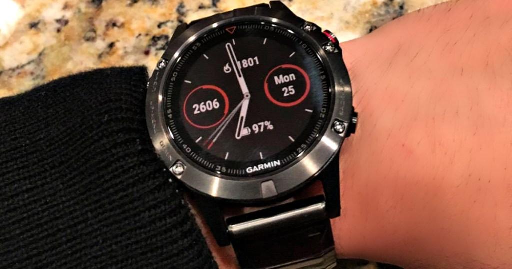 Garmin fēnix 5X Sapphire Smartwatch on wrist
