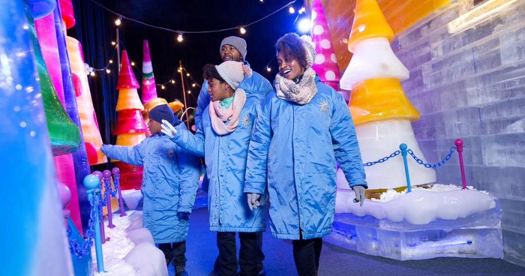 family walking through Gaylord Palms ICE