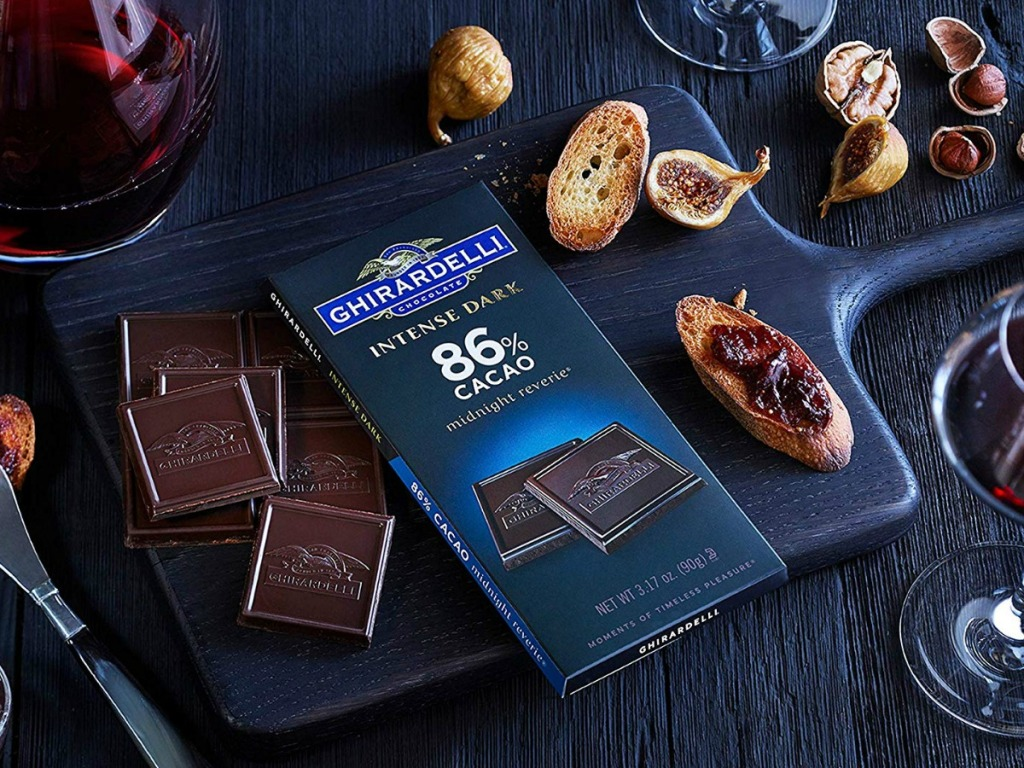 Ghirardelli chocolate squares with wine glass