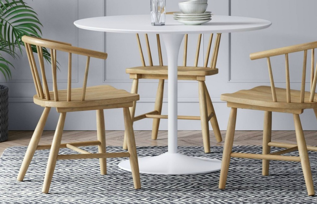 Wooden Dining Chairs at white dining table