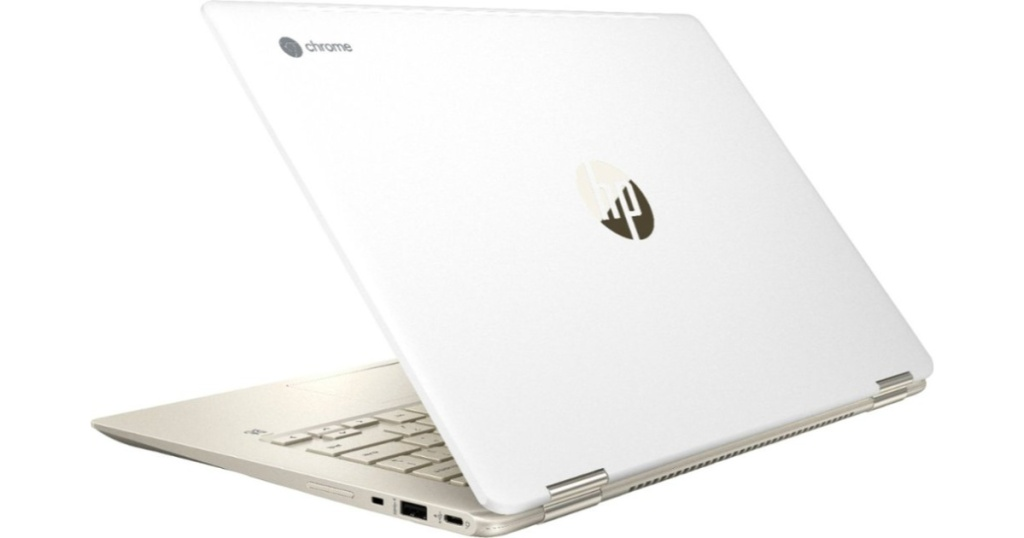 white computer with hp and chrome logo on front