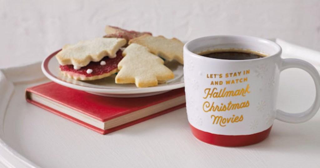 Hallmark Channel mug with coffee and cookies