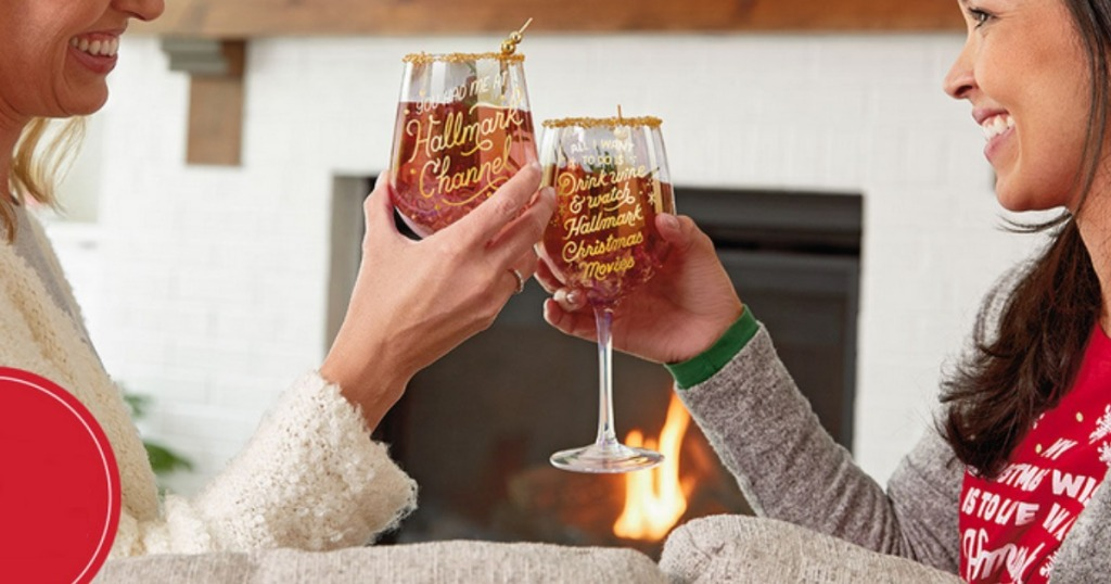 Women toasting with Hallmark Channel wine glasses