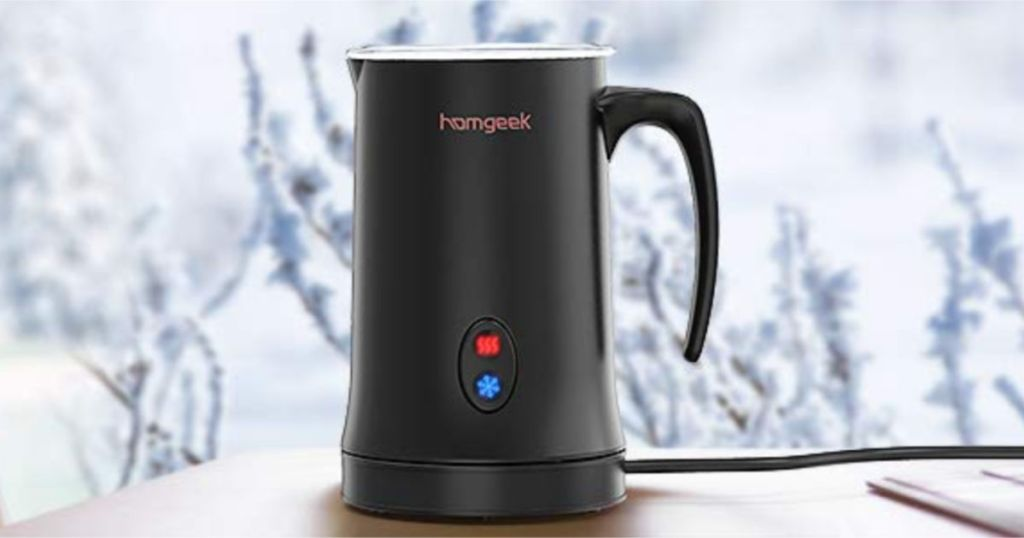 Homgeek Electric Milk Steamer and Frother on table with snowy background