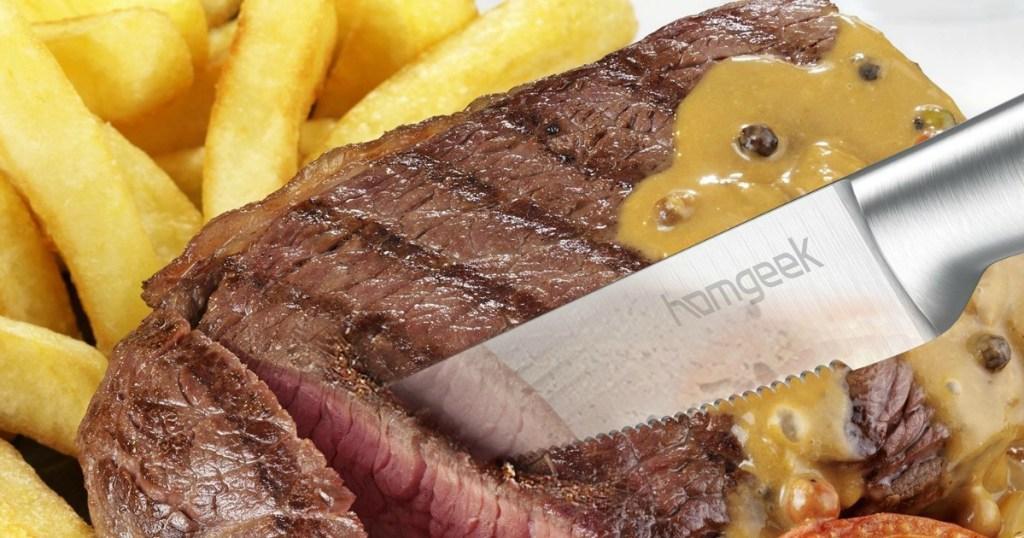 Homgeek Knife cutting into steak