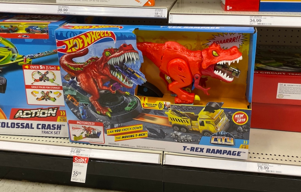 Hot Wheels T-Rex Rampage on shelf at Target