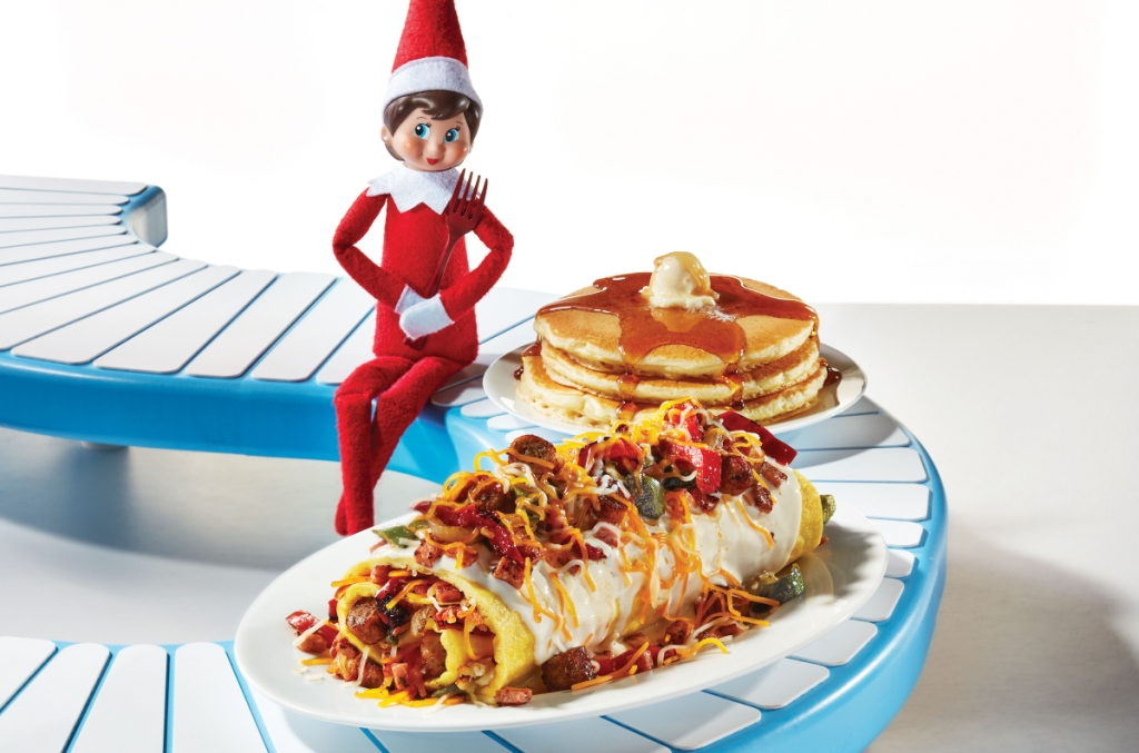 Elf on the Shelf with an omelette and pancakes