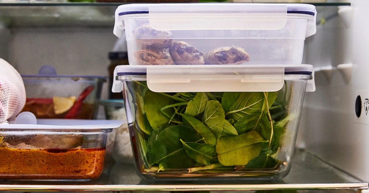 IKEA glass containers with veggies in fridge