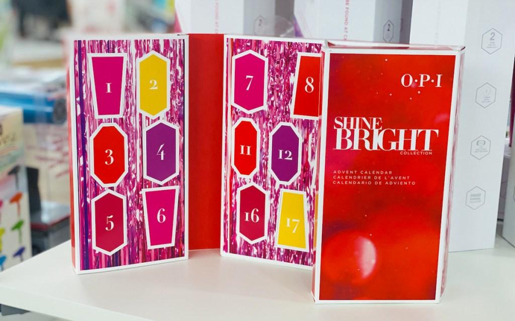 opi nail polish advent calendar on store shelf