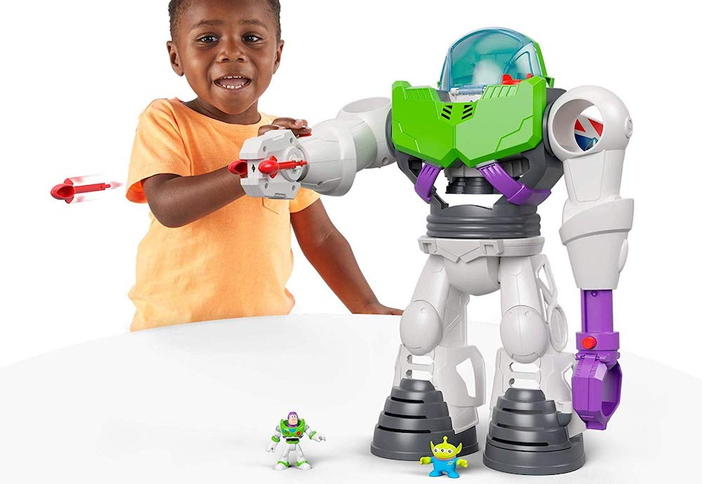 boy playing with Imaginext Buzz Lightyear