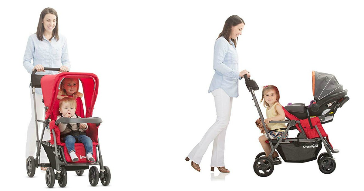 two views of woman pushing a red stroller with kids