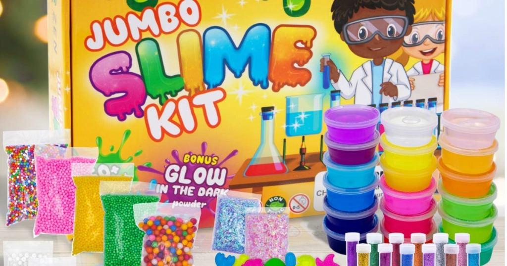 DIY Jumbo Slime Kit with accessories on table