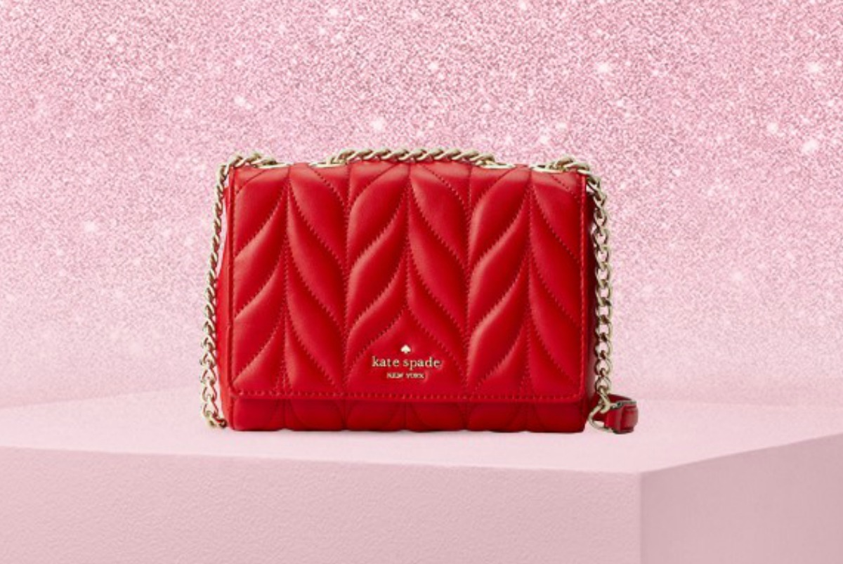 Kate Spade Briar Lane Quilted Mini Emelyn Crossbody Bag in red on pink background